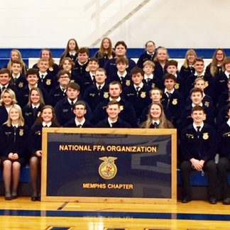 Memphis FFA Chapter Front row (l to r) - Jenna Blessing, Morgan Blessing, Lauren Triplett, Karli Hamilton, Elsie Kigar, Levi Briggs, Hunter Carter, Penelope Cline, Owen Triplett, Brant Frederick, Anna Triplett and Kilee Bradley-Robinson Second row (l to r) - Kendra Cochran, Caelin Robinson, Izabelle Lucas, Baileigh Phillips, Dylan Mohr, Eric Mohr, Julian Valle, Payton Frederick, Jakobie Payne, Waltedda Blessing, Advisor. Third row (l to r) - Kendal Anderson, Tresa Huber, Eli Kigar, Hunter Sapp, Hunter Cook, Ethan Tinkle, Aiden Frederick, Hugh Baker, Ethan Blessing, Grady Dodge and Hayden Long. Fourth row (l to r) - Emma Harvey, Carlee Smith, Corbin Blessing, Hunter Holt, Corbyn Spurgeon, Jarod Cerroni, Lucas Durflinger, Elias Hatfield, Carson Miller, Jadin Fuller, Alex Long and Delsin Holt.