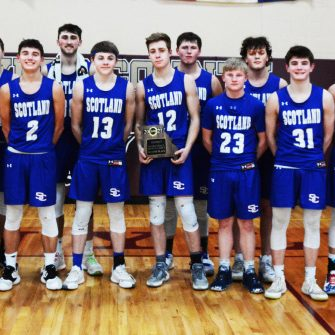 The Scotland County Tigers took home the 2nd Place plaque from the Class 2, District 6 basketball tournament. Front row (l-r): Assistant Coach Nathan Pippert, Hunter Holt, Jared Cerroni, Corbyn Spurgeon, Carson Harrison, Trayton Buckallew, Owen Triplett, Lucas Durflinger and Head Coach Jeremy Austin. Back row (l-r): Kabe Hamlin, Xavier Lucas, Hunter Carter and Aiden Frederick.