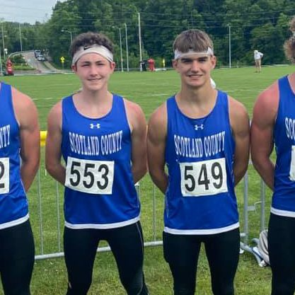 The Scotland County men's 4x100 meter relay team placed 9th in state. The team consist of (l-r): Hayden Long, Carson Miller, Jadin Fuller and Alex Long. Not pictured is alternate Quinton Shaffer. The team ran a time of 46.12 seconds, which set a new school record. Photo courtesy of Troy Carper