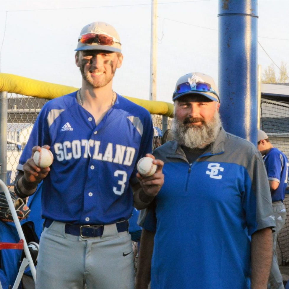 Scotland County junior shortstop Xavier Lucas blasted two home runs in a 14-9 win over Schuyler County. The first was a two run homer in the 5th, and the second was a solo dinger in the 6th. Lucas is pictured with his dad, assistant Tiger coach Riley Lucas.